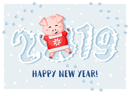 2019 ¡Feliz año nuevo! Lindo cerdo tumbado en la nieve y haciendo un ángel de nieve. Ilustración de vector.