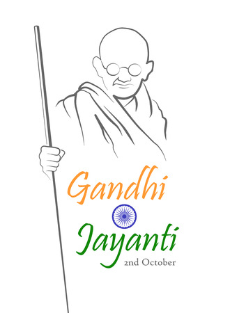 2nd October. Gandhi Jayanti. Abstract sketch of Mahatma Gandhi with inscription in shape of the Indian flag. Vector illustration. Ilustracja