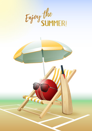 Enjoy the Summer! Sports card. Cricket ball with sunglasses, beach umbrella, deck chair and wooden bat on the Cricket field. Vector illustration.