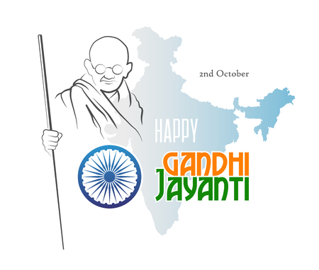 October 2. Happy Gandhi Jayanti. Abstract sketch of Mahatma Gandhi with Ashoka Chakra on the silhouette of the map of India. Vector illustration.