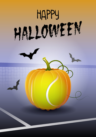 Happy Halloween. Sports greeting card. Realistic tennis ball in the shape of a Pumpkin. Vector illustration. Illustration