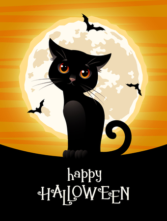 Happy Halloween. Cute black cat on the background of the full moon. Vector illustration.