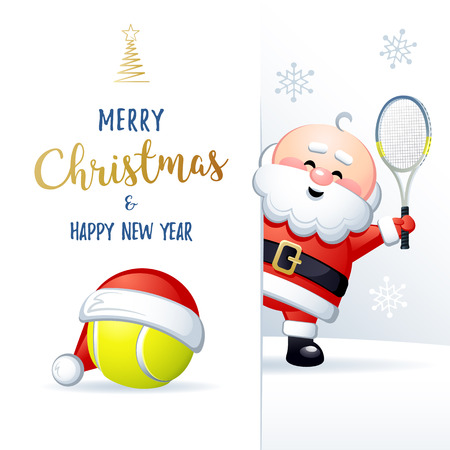 Merry Christmas and Happy New Year. Sports greeting card. Cute Santa Claus with Tennis ball and Tennis Racquet. Vector illustration.
