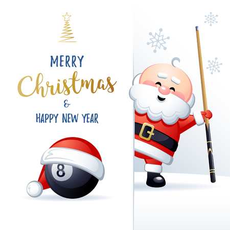 Merry Christmas and Happy New Year. Sports greeting card. Cute Santa Claus with Billiard ball and cue. Vector illustration. Ilustrace