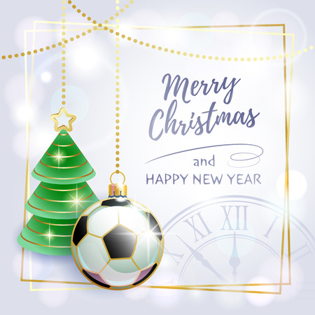 Merry Christmas. Happy New Year. Sports greeting card. Soccer. Vector illustration. 矢量图像