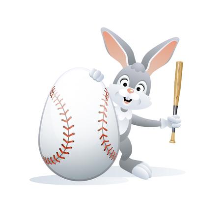 Easter sports greeting card. Cute Rabbit with Baseball Egg and Baseball bat. Vector illustration. Stock Vector - 119618162