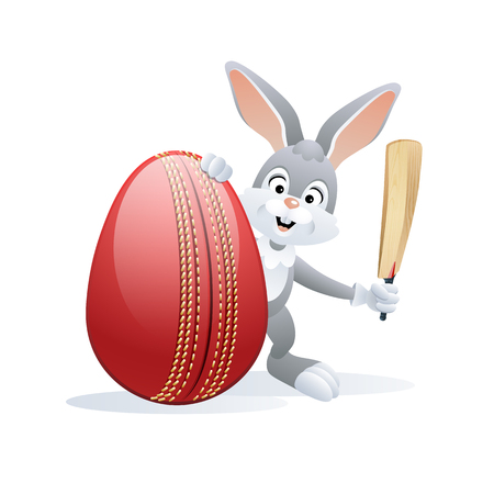 Easter sports greeting card. Cute Rabbit with Cricket Egg and Cricket bat. Vector illustration. Illustration