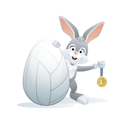 Easter sports greeting card. Cute Rabbit with Volleyball Egg and Gold medal. Vector illustration.