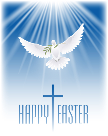 Happy Easter. White dove with olive branch and cross. Vector illustration. Vettoriali