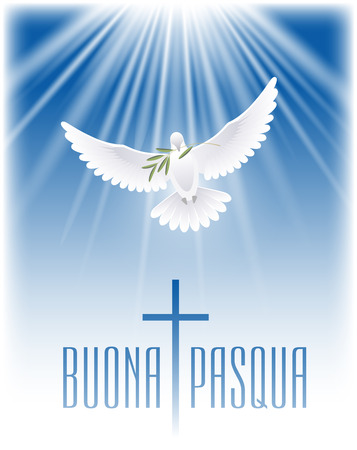 Happy Easter in Italian. Greeting card with cross, white dove and olive branch. Vector illustration.