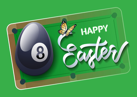 Happy Easter. Easter egg in the form of a billiard ball on a billiard pool background. Vector illustration. Stock Illustratie