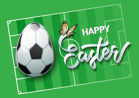 Happy Easter. Easter egg in the form of a soccer ball on a soccer field background. Vector illustration.