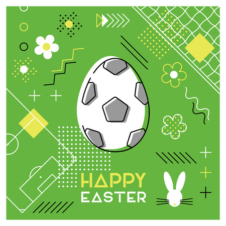Happy Easter. Greeting card with Easter egg as a soccer ball. Abstract Memphis design. Vector illustration. Illustration