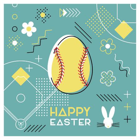 Felices Pascuas. Tarjeta de felicitación con huevo de Pascua como pelota de softbol. Diseño abstracto de Memphis. Ilustración de vector. Ilustración de vector