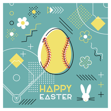 Happy Easter. Greeting card with Easter egg as a softball ball. Abstract Memphis design. Vector illustration.
