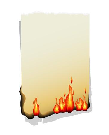 Burning sheet of paper isolated on white background. Vector Illustration.