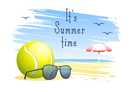 Its Summer Time. Sports card. Tennis ball with sunglasses and beach umbrella on the sand beach background. Vector illustration.