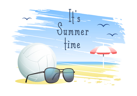 Its Summer Time. Sports card. Volleyball ball with sunglasses and beach umbrella on the sand beach background. Vector illustration. Illustration