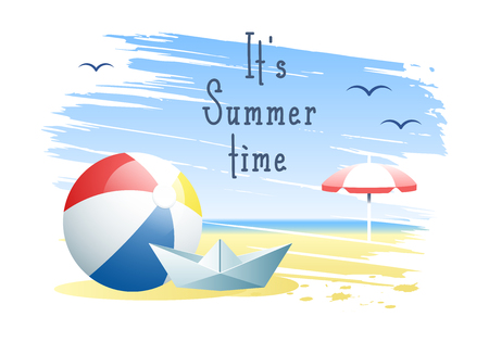 Its Summer Time. Beach ball with paper boat and beach umbrella on the sand beach background. Vector illustration. 向量圖像