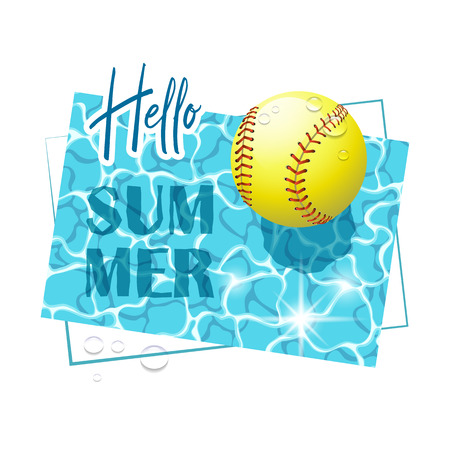 Hello Summer. Solar water surface with a softball ball and water drops. View from above. Vector illustration. Illusztráció