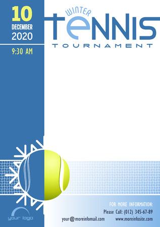 Modello del manifesto del torneo di tennis invernale. Posto per il tuo messaggio di testo. Illustrazione vettoriale. Vettoriali