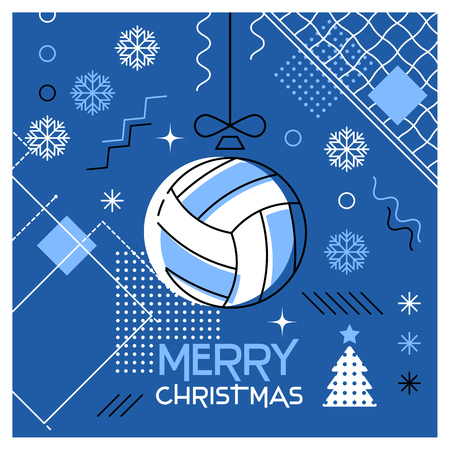 Merry Christmas. Greeting card with Christmas ball as a volleyball ball. Abstract flat design. Vector illustration.