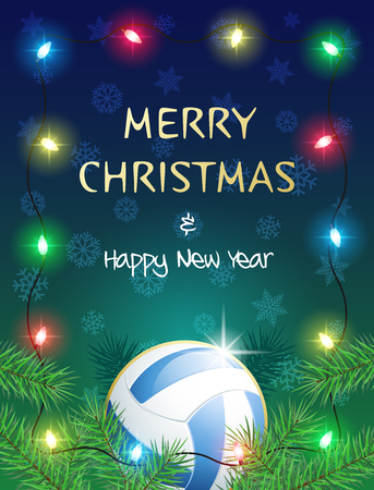 Merry Christmas and Happy New Year. Sports greeting card with Volleyball ball and Christmas Lights. Vector illustration.