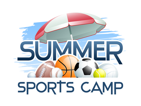 Sports Summer Camp concept with different Sports Balls and Umbrella. Vector illustration.