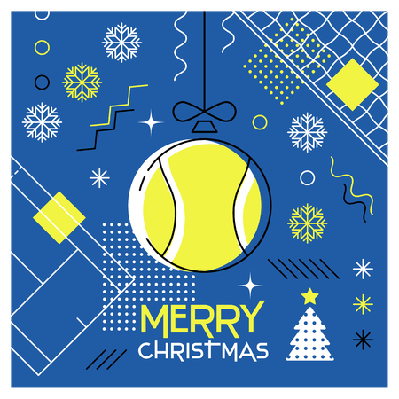 Merry Christmas. Greeting card with Christmas ball as a tennis ball. Abstract flat design. Vector illustration.