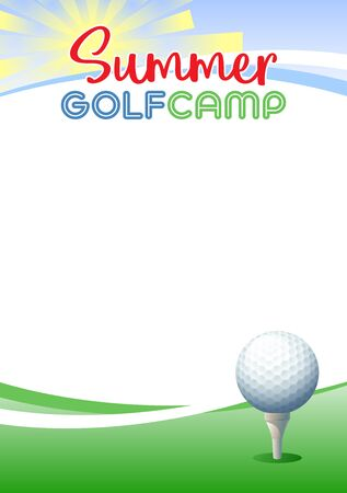 Summer Golf Camp. Template poster with realistic golf ball. Place for your text message. Vector illustration. Иллюстрация