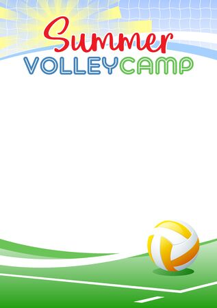 Summer Volleyball Camp. Template poster with realistic volleyball ball. Place for your text message. Vector illustration. Иллюстрация