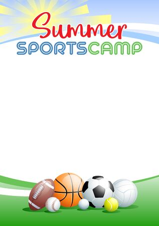 Summer Sports Camp. Template poster with different Sports Balls. Place for your text message. Vector illustration. Vectores