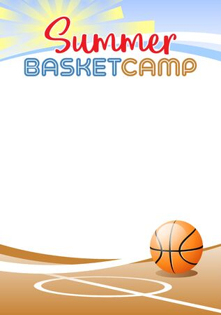 Summer Basketball Camp. Template poster with realistic basketball ball. Place for your text message. Vector illustration. Иллюстрация