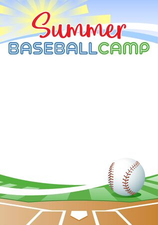 Summer Baseball Camp. Template poster with realistic baseball ball. Place for your text message. Vector illustration.
