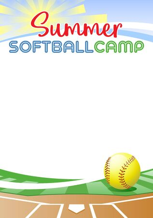 Summer Softball Camp. Template poster with realistic softball ball. Place for your text message. Vector illustration. Иллюстрация
