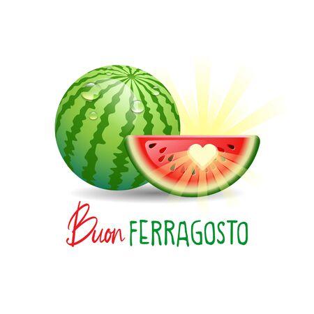 Buon Ferragosto. Happy Summer Holidays in Italian. Italian summer holidays concept with sun and watermelon on white background. Vector illustration.