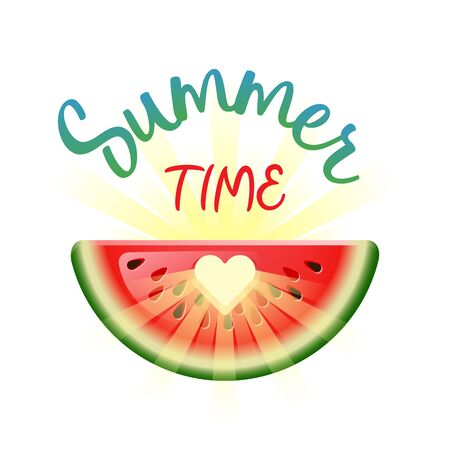 Summer Time. Summer Holidays concept with heart in watermelon and sun. Vector illustration.