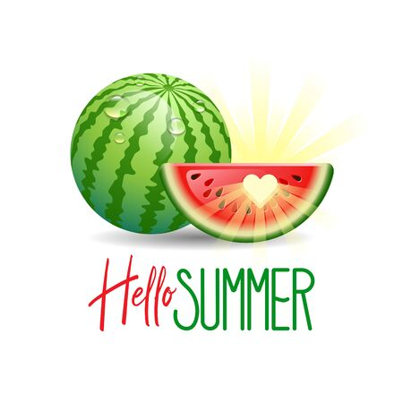 Hello Summer. Summer Holidays concept with sun and watermelon on white background. Vector illustration.