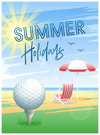Summer Holidays. Sports card. Golf ball with deck chair and beach umbrella on the beach background. Vector illustration. Иллюстрация