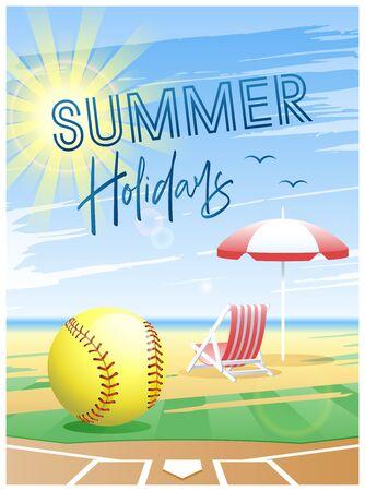 Summer Holidays. Sports card. Softball ball with deck chair and beach umbrella on the beach background. Vector illustration.