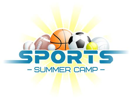 Sports Summer Camp concept with different Sports Balls and the sun. Vector illustration. Vectores