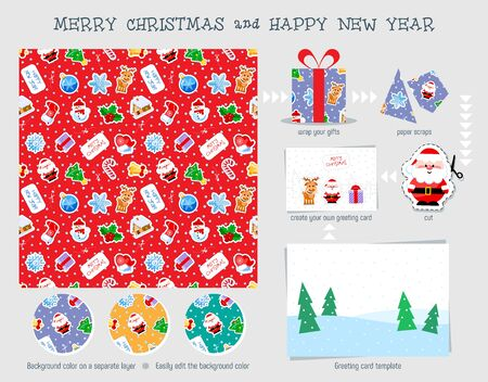 Christmas seamless pattern. Good for wrapping that can later be reused for cutting decoration and for your creative ideas with children. Иллюстрация