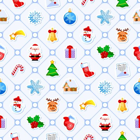 Christmas seamless pattern with cute cartoon characters and holidays elements. Vector illustration. Flat design without transparency. Good for wrapping. Иллюстрация