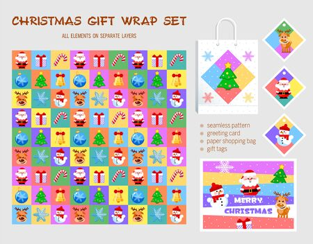 Christmas gift wrap set. Seamless pattern, greeting card, paper shopping bag, gift tags. All elements on separate layers. Vector illustration.