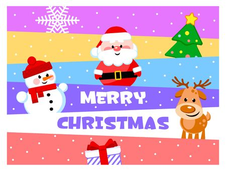 Merry Christmas. Greeting card with funny cartoon characters. Santa Clause, Snowman, Reindeer. Flat design. Vector illustration.