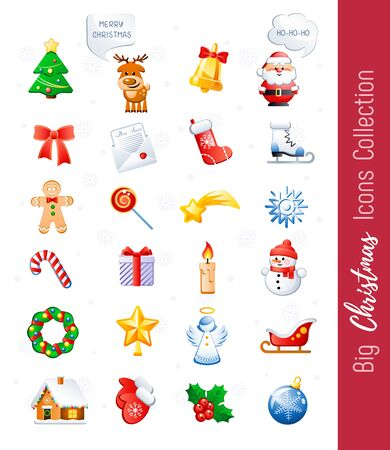 Big Christmas Icons Collection. Cute cartoon characters and holidays elements. Vector illustration without transparency.