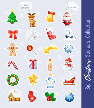 Big Christmas Stickers Collection. Cute cartoon characters and holidays elements. Vector illustration without transparency.