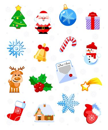 Set of 16 funny Christmas and New Year icons. Cartoon characters. Vector illustration. Flat design without transparency. Иллюстрация