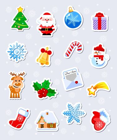 Set of 16 funny Christmas and New Year stickers. Cartoon characters. Vector illustration. Flat design without transparency. Иллюстрация