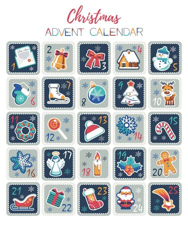 Christmas Advent Calendar with cute cartoon characters and holidays elements. Vector illustration. Flat design without transparency.